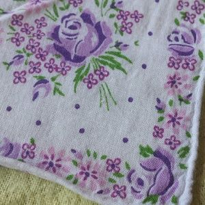 Purple Rose Cotton Kerchief 1960s